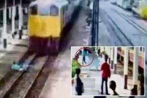 Suicidal Man Throws Himself In Front Of Moving Train But Miraculously Cheats Death.